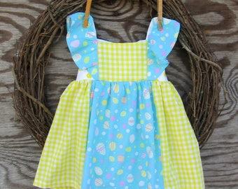 Girls Easter Dress,  Easter Egg Dress, Yellow Gingham dress, Girls Ruffled Dress