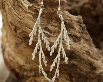 Cedar Branch earrings, cedar tree, tree of life, forest jewelry, nature inspired, botanical jewelry, organic wedding, rustic earrings, wild