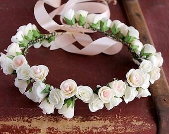 Rose Crown, Boho Bridal Crown,  Floral Head Wreath, Flower Girl Halo, Woodland Crown, Flower Girl Crown, Ivory Rose Halo, Toddler Crown