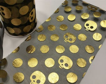 15 feet of black and gold skull Halloween tulle , 4.5 inches wide (BR16)