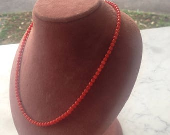 16inches 4mm bead Red Coral grade A necklace