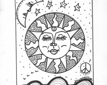 Hippie Art Coloring Book Peace Love and a Coloring Book