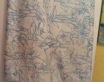 Vintage Fabric Lily Lilies Print Blue and White