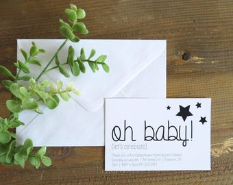 You're a star baby announcement, Black and white baby announcement, Digital download baby announcement