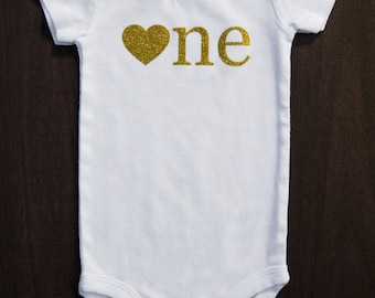 First Birthday Shirt...Baby Girl 1st Birthday...Gold One Bodysuit...Heart One...Gold Glitter One...Pink and Gold Birthday..1st Birthday Girl