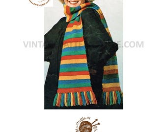 Ladies 1970s, easy to knit, extra long, striped, tasseled scarf - one size - Vintage PDF Knitting Pattern 191