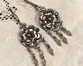 Victorian Cut Steel Antique Button Earrings, Chandelier style beads