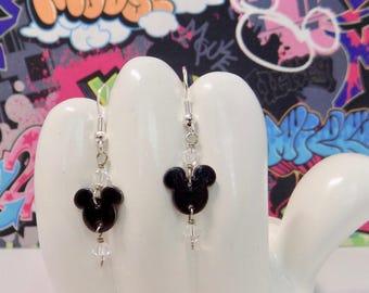 Classic Mickey Mouse Black Head Mini Dangle Earrings