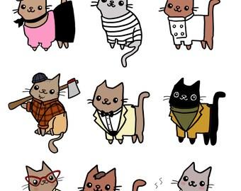 Cute Stickers Super Cute Cat Stickers Planet Kitty Cute Gift Idea Funny Sticker Sheet Unique