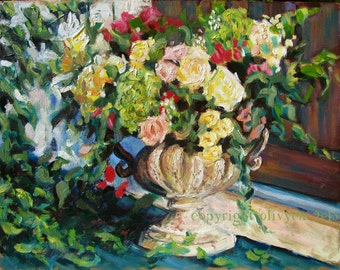 Original Oil Painting, Still Life, Bouquet of Roses, Shabby Chic, impressionistic, Fine Art, Floral, 11 x 14""