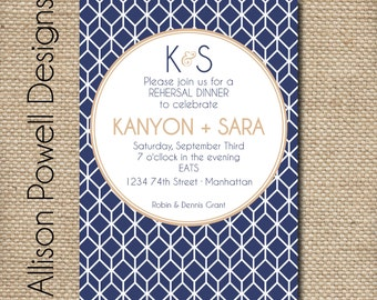 Custom Digital Rehearsal Dinner/Dinner Party Invitation, Engagement, Shower- Fall Colors, Navy - Printable