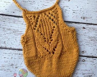 Taralynn Romper - Mustard Yellow Romper - Knit Romper - Lace Romper - Knit Photo Prop - Yellow Romper - Newborn Romper - Newborn Knit Romper