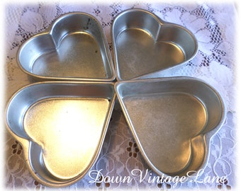 4 Vintage Heart Molds Jello Molds Tins