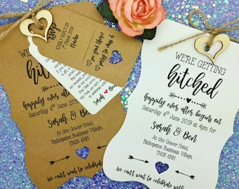 Getting Hitched Rustic Wedding Invitation, Vintage Wedding Invitation Bundle