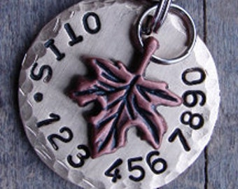 Pet Tag, Dog ID Tag, Pet Tags for Dogs or Cats Autumn Maple Leaf Charm