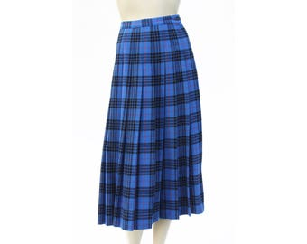 Vintage Pendleton Authentic Morgan Tartan Blue Plaid Midi Length High Waist Virgin Wool Made in U.S.A. Woman's Retro Skirt