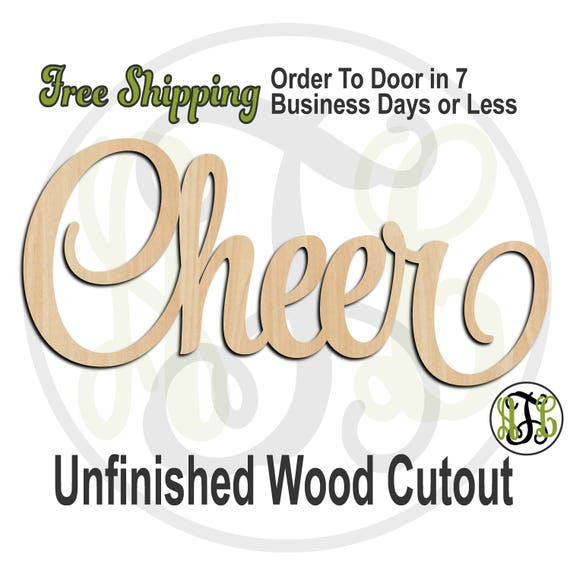 Cheer 3 - 320281SSt- Word Cutout, unfinished, wood cutout, wood craft, laser cut, wood cut out, wood cut out, cheerleader, wooden sign