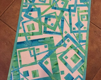"Art Quilt, ""CORNERS"",  Fused Geometry, Fiber art, Wall Hanging"