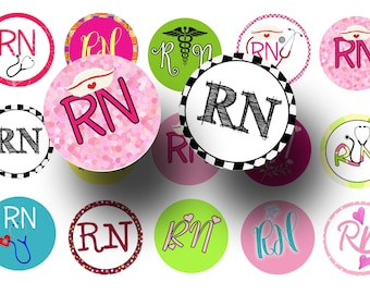 RN bottlecap images - Nurses week - RN 1 inch circles digital collage sheet - Badge reels - Magnets - Keychains - Printable - Craft supply