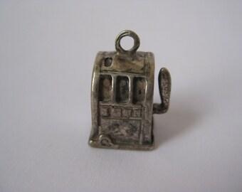 Slot Machine Charm Sterling Silver Vintage 925