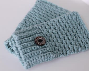 Texting gloves/driving gloves/fingerless mittens - extra fine merino wool with tribal buttons (aquamarine)