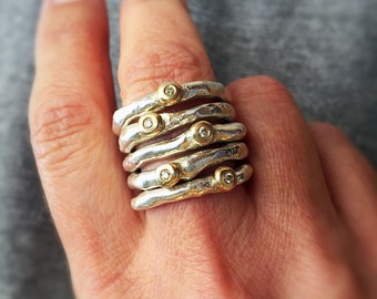 Diamond stacking rings, Silver stacking rings,  14K gold with diamonds, Contemporary stacking rings, Hand forged silver bands
