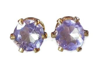 Purple Amethyst Stud Earrings|Brazilian Amethyst Stud|Purple Amethyst Earrings|14K Gold Amethyst Studs|Amethyst Earrings|February Birthstone