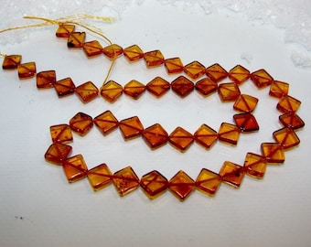 Beads amber square diamond 8.5 mm. Semi precious stone. (2314249)