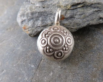 Thai Hill Tribe Fine Silver Bell  - One Piece - Artisan Findings - Hill Tribe Bell - Fine Silver Bell - Flower Bell - TB4