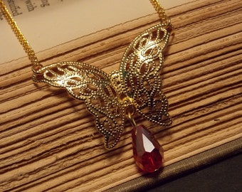 Red and Gold Filigree Butterfly Necklace