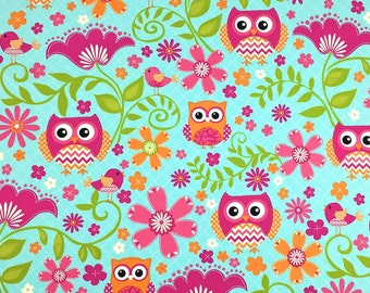 Owl Fabric, 100 % Cotton Fabric, Cotton Fabric by the Yard, Quilting Fabric, Apparel Fabric, Owl Material, Quilting Material, Pink Owl
