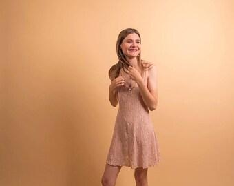 Floral Lace Dress / 90s Skater Dress / Lace Lingerie Dress / Mini Dress Δ size: S/M