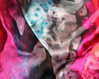 Vibrant Hand-painted Scarf or Wrap