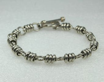 Barrel And Link Chain Sterling Silver Bracelet With Toggle Clasp
