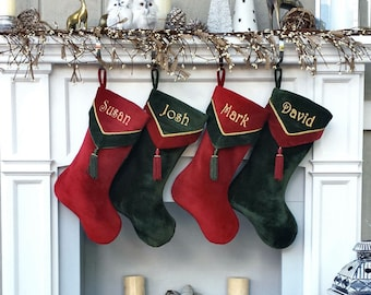 Designer Velvet Christmas Stockings V-Cuff Tassel - Custom Embroidered with Names