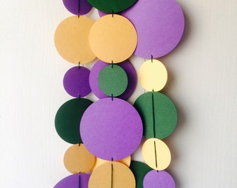 Mardi Gras Garland / Bunting / Green Gold Purple Party Decor / Photo Prop