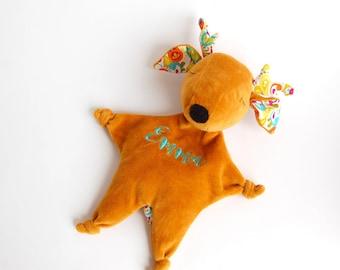 Baby Deer, Embroidered Blanket, Security Blanket, Baby Teether, Woodland Baby, Deer Plush Toy