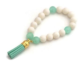 Mint tassel bracelet, tassel charm, white and mint green, leather tassel bracelets, bohemian jewelry