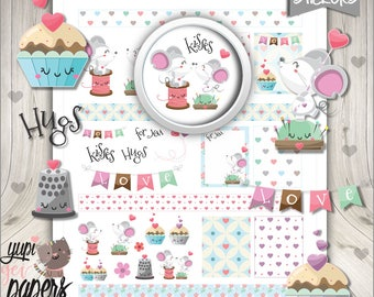 Valentine's Day Stickers, Printable Planner Stickers, Valentine Stickers, Planner Accessories, Love Stickers, Mouse Stickers