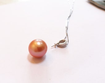 12-13mm Genuine Edison Freshwater Pearl  Sterling Silver S925 Pendant Necklace, Natural peach orange Baroque Pearl, Bridal necklace