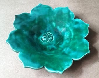 Ceramic Lotus Trinket Dish Ring dish Soap dish Malachite Green