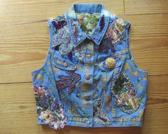 OOAK Embellished Vintage Denim Vest NATURES LEGACY - Fully Lined and Beaded - Upcycled Repurposed Recycled Clothing