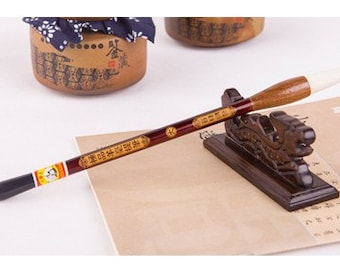 Free Shipping Chinese Calligraphy Material  6.3x1.5x30.3cm Goat Hair Brush Super Quality / TB (Large) - Ebony + Solid Wood Handle - 0013L