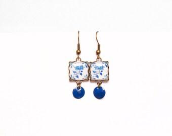 Floral tile Earrings with vintage drawings. Lotus flower, Blue & white  Herbal earrings. Arabesque.