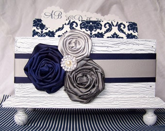 Navy and Gray Guest Book / GUEST Book Box / Guest Box with Alphabetized Dividers / Advice box / Navy Blue and silver guest book / Flowers