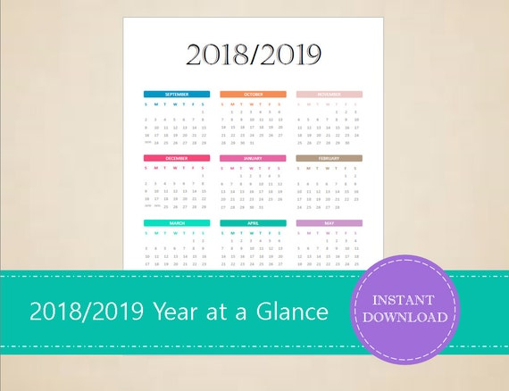 year at a glance calendar 2018