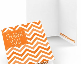 Chevron Orange Thank You Cards - Baby Shower Thank You Cards - Birthday Thank You's - Bridal Shower Thank You - Set of 8 Folding Note Cards
