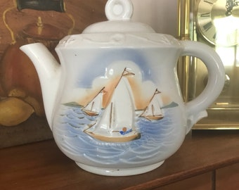 """Vintage """"Pecetier""""  Vitreous China Teapot w/Sailboat Scene  Made in USA"""