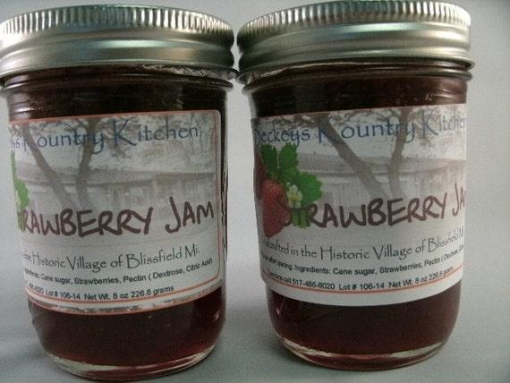 Two Jars of Strawberry jam Homemade by Beckeys Kountry Kitchen jelly fruit spread preserves
