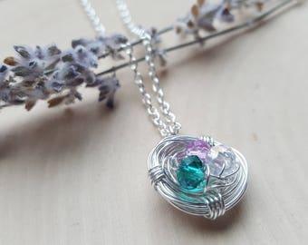 Bird Nest Necklace, bird nest jewelry, Mother's Day gift, Grandma gift, gift for mom, gift for Grandma, new mom necklace, tiny bird jewelry